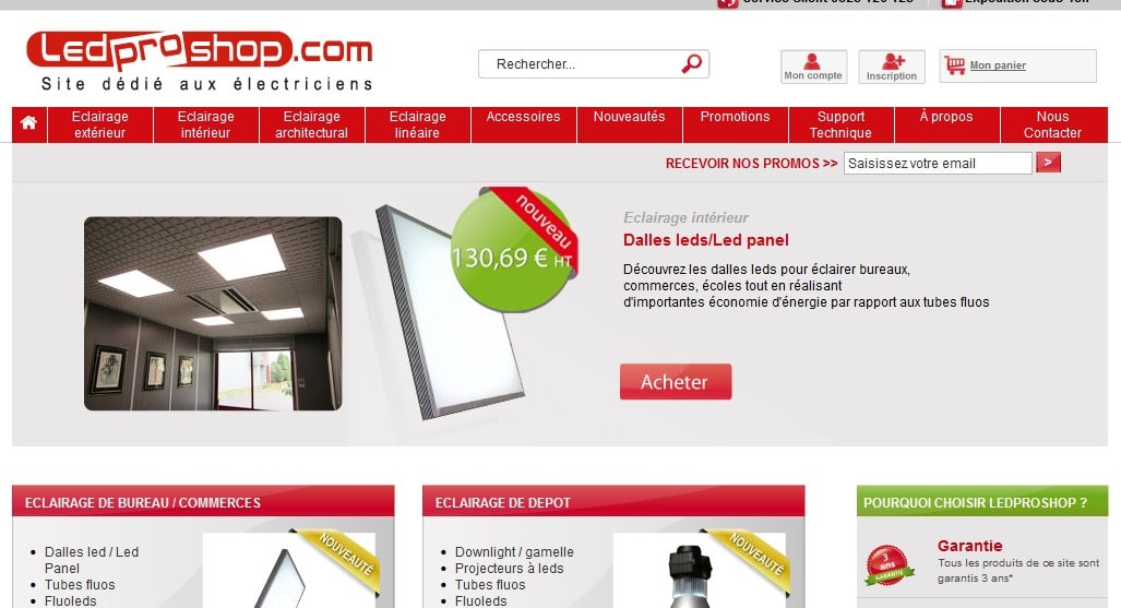 ledproshop luminaires en ligne fournisseur eclairage led. Black Bedroom Furniture Sets. Home Design Ideas