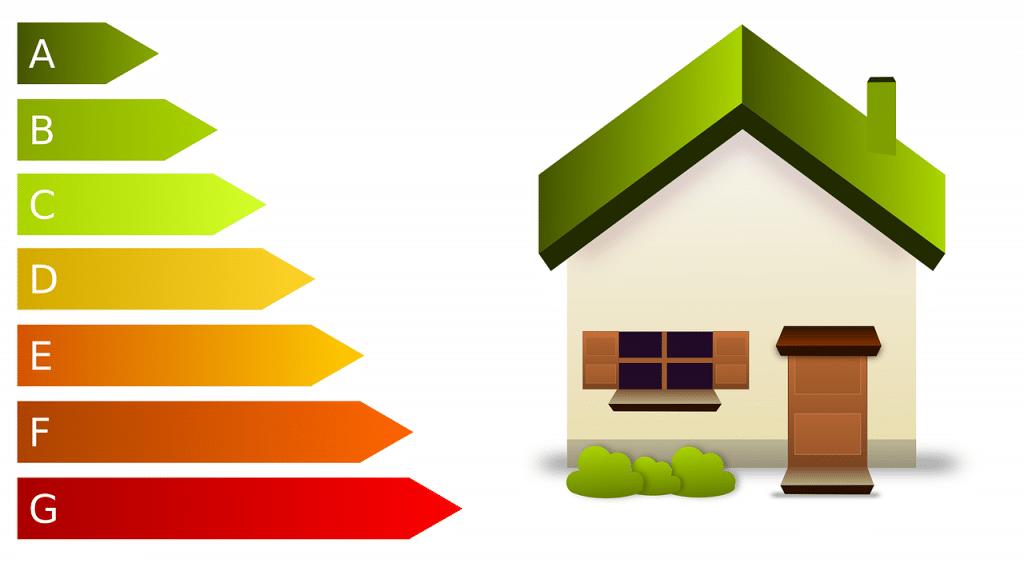 dessin de maison à côté de laquelle on trouve les niveaux de performance énergétique